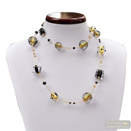 COLLIER MURANO NOIR ET OR COLLIER LONG EN VERITABLE VERRE DE MURANO