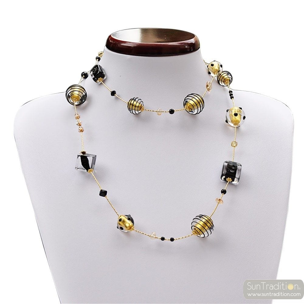 NECKLACE MURANO GLASS BLACK AND GOLD NECKLACE LONG GENUINE MURANO GLASS