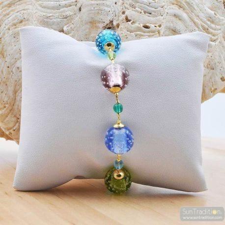 MURANO GLASS BRACELET BRACELET BLEU EN VERITABLE VERRE DE MURANO BLUE FIZZY