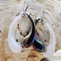 MIO BLACK AND PEARLY EARRINGS CREOLES GENUINE MURANO GLASS OF VENICE