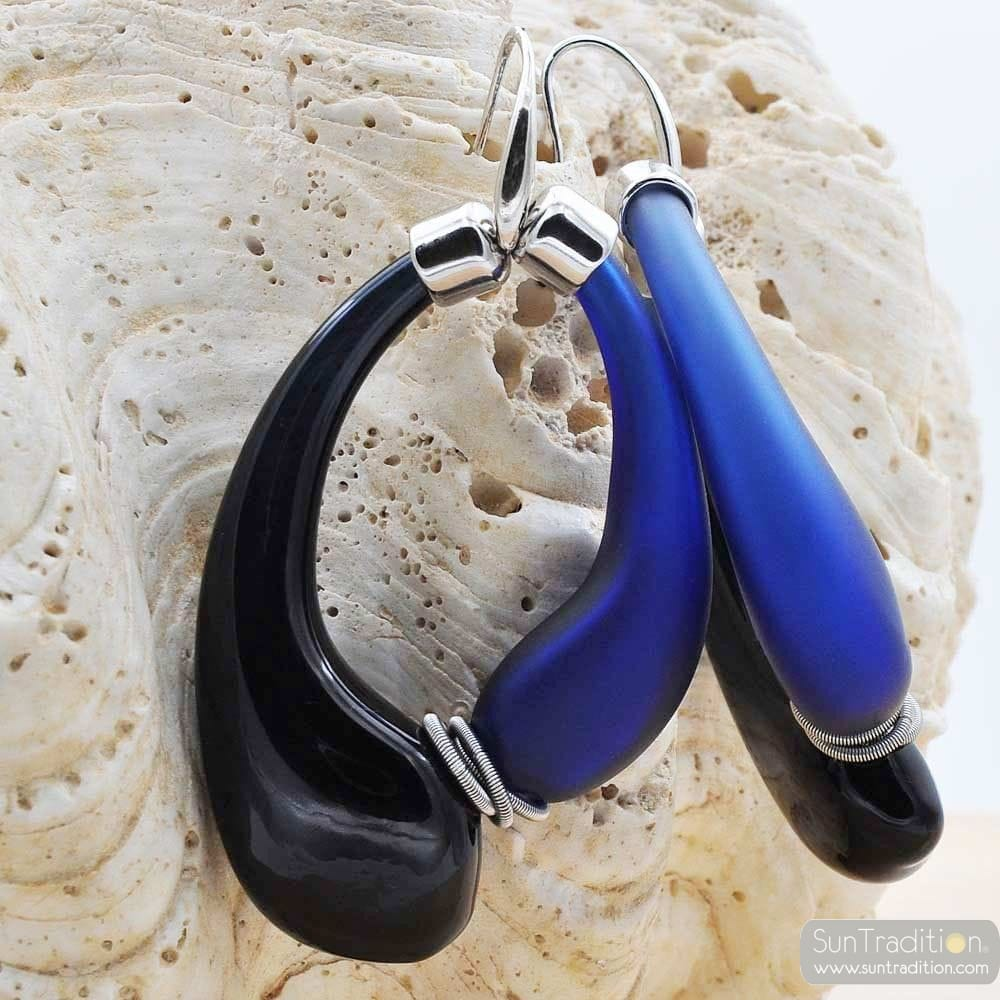 MIO BLACK AND BLUE EARRINGS CREOLES GENUINE MURANO GLASS OF VENICE