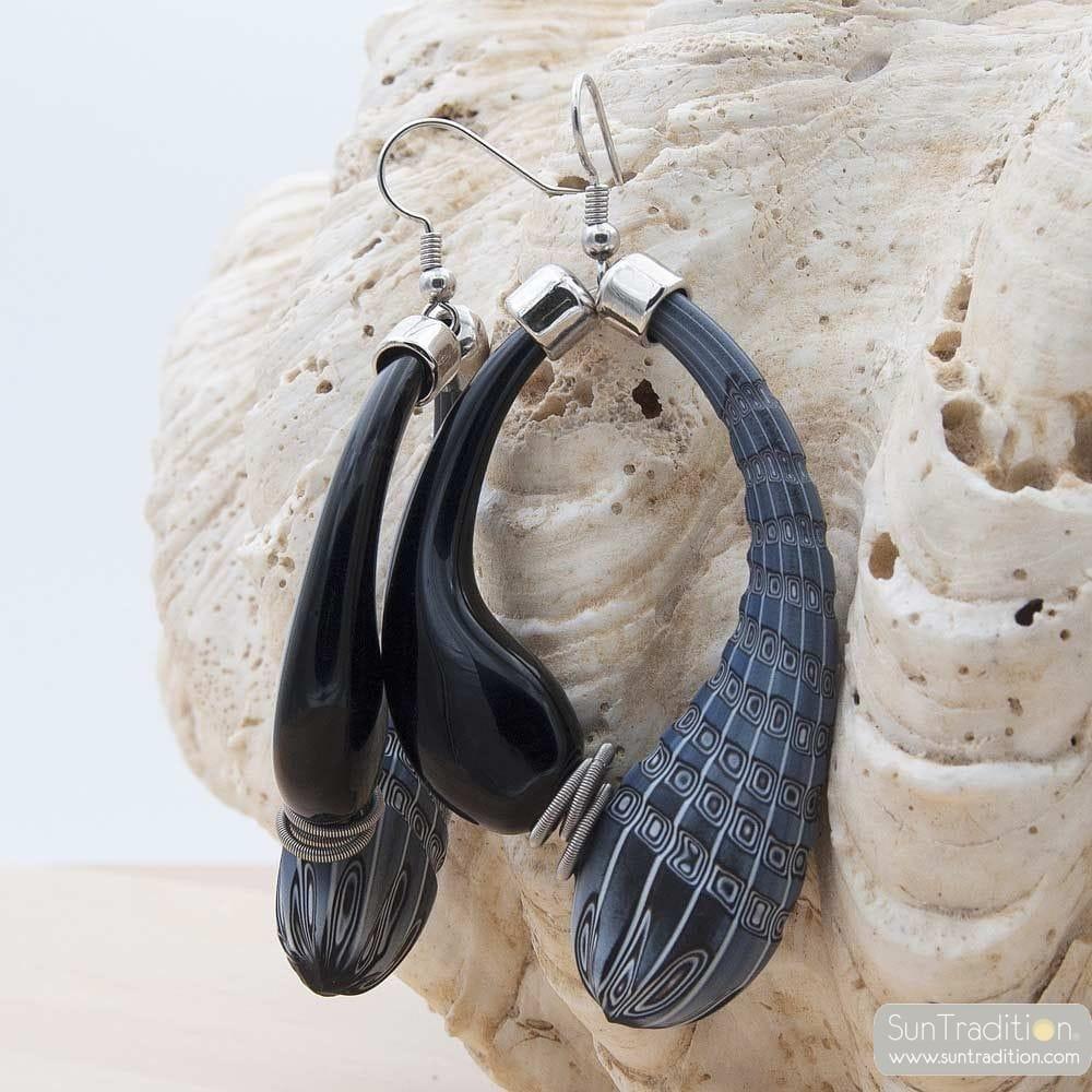 MIO BLACK AND GREY MILLEFIORI EARRINGS CREOLES GENUINE MURANO GLASS OF VENICE