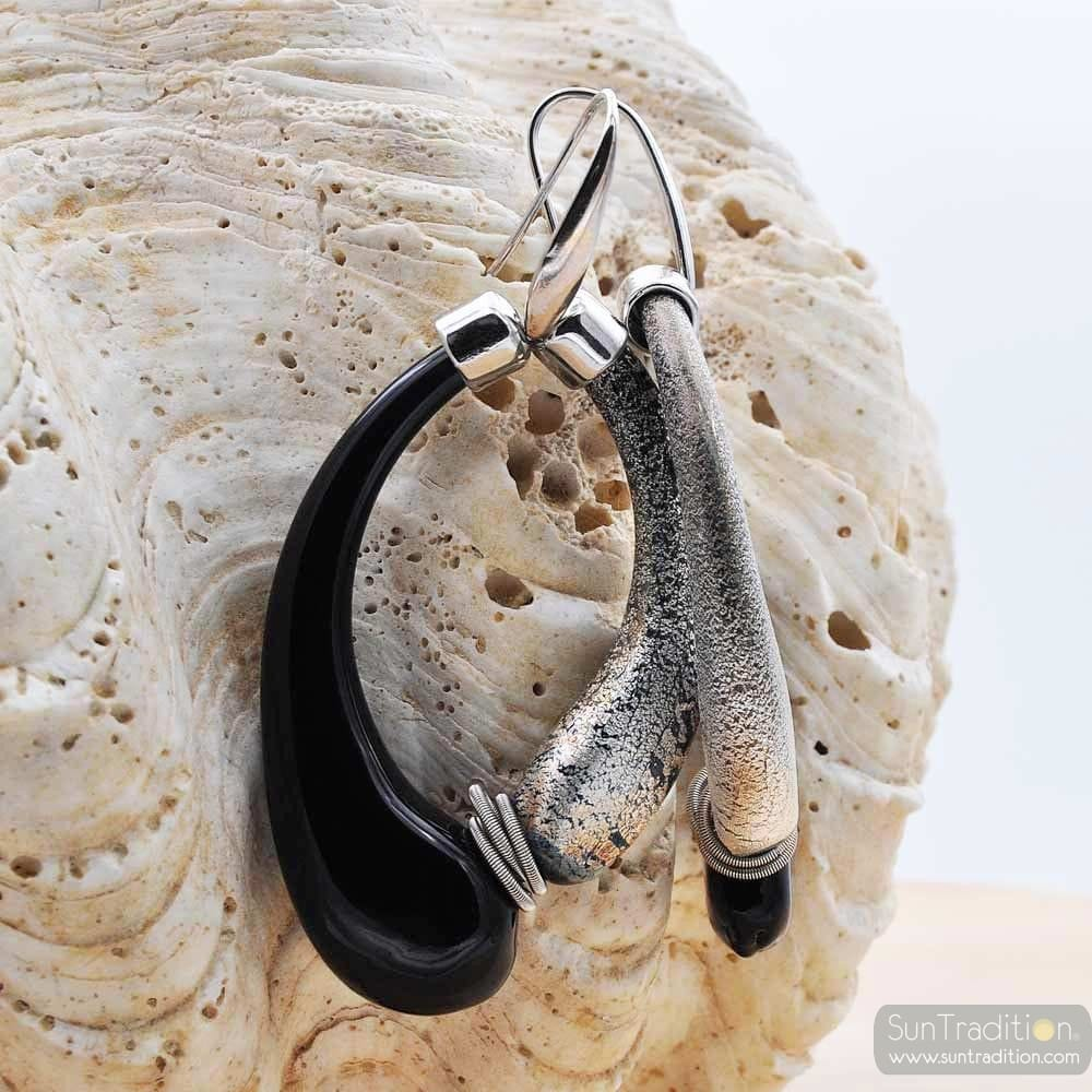 MIO BLACK AND OLD SILVER EARRINGS CREOLES GENUINE MURANO GLASS OF VENICE
