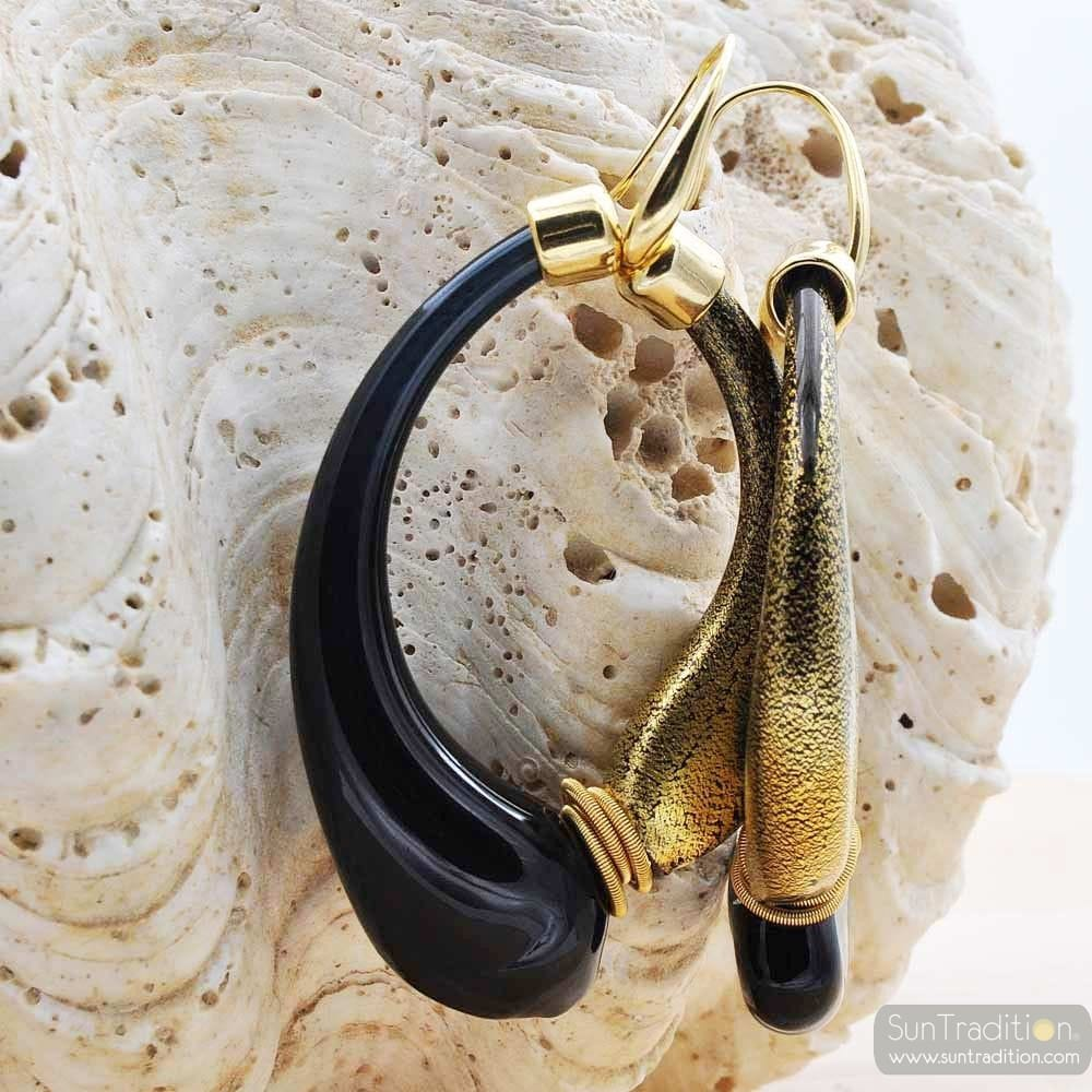 MIO BLACK AND OLD GOLD EARRINGS CREOLES GENUINE MURANO GLASS OF VENICE