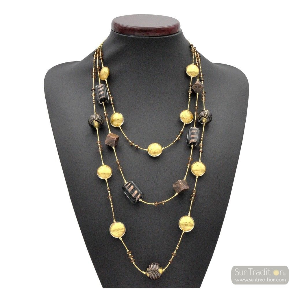 GOLD NECKLACE-LONG THREE-ROW NECKLACE JEWELRY MURANO GLASS BARIOLE BROWN