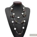 Fenicio Chic long - Long silver motley brown 3 rows Murano glass necklace venitian jewellry Italy