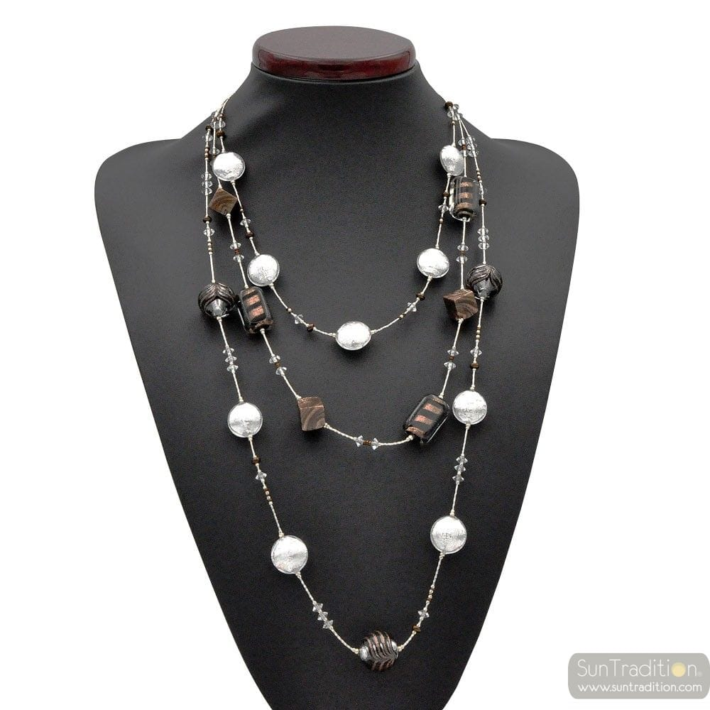 LONG NECKLACE LONG SILVER THREE-STRAND NECKLACE OF MURANO GLASS BARIOLE BROWN