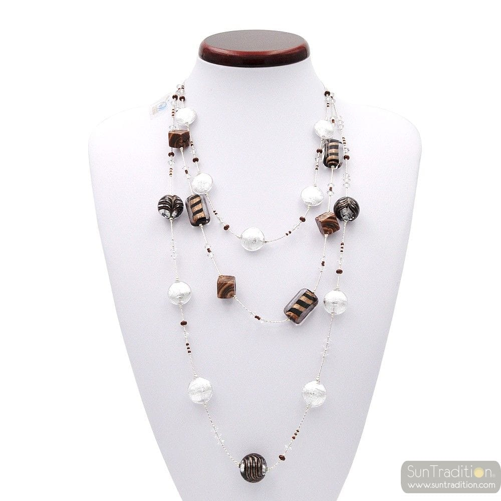 NECKLACE SILVER LONG 3 ROW NECKLACE, MURANO GLASS BARIOLE BROWN