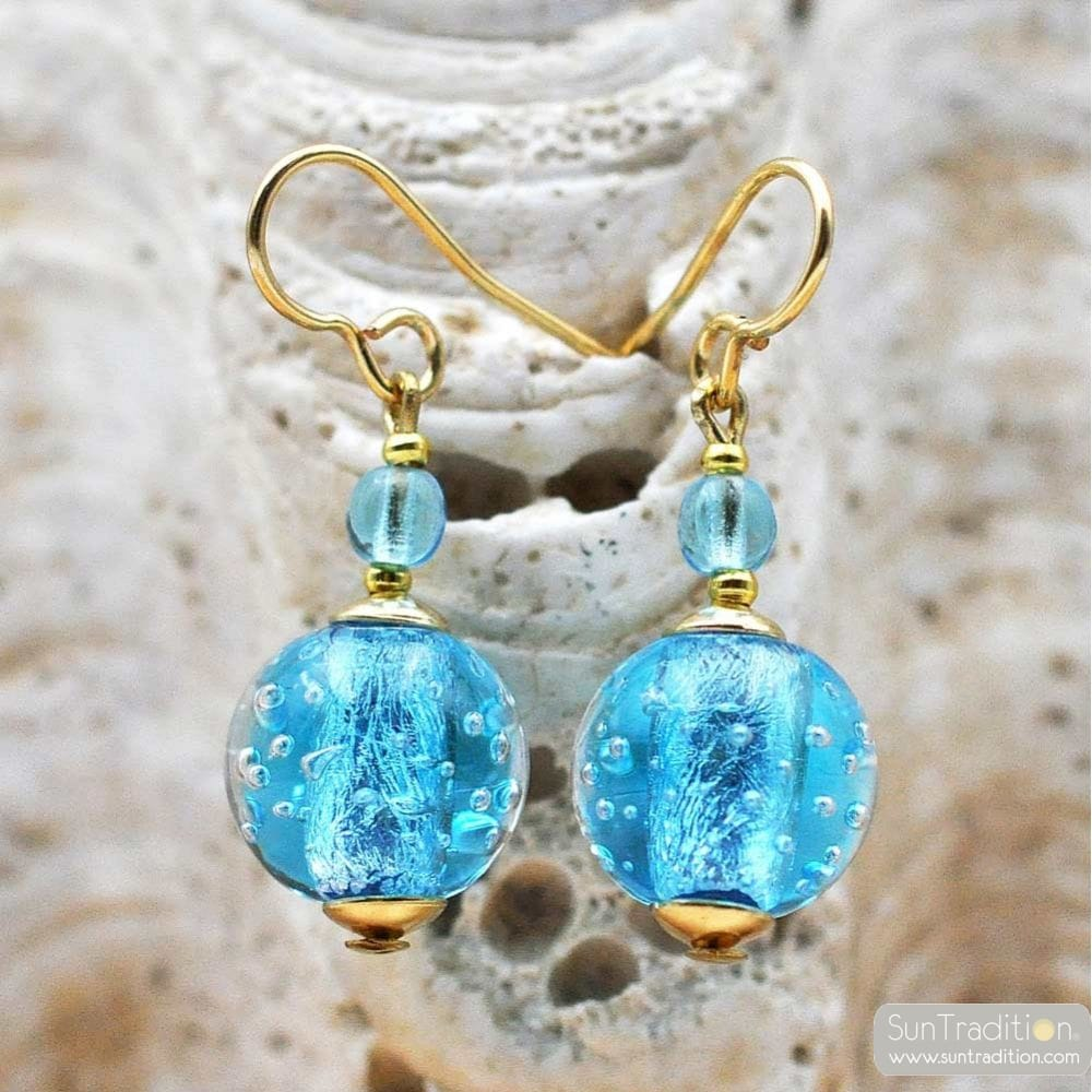 FIZZY AZURE BLUE EARRINGS GENUINE VENICE MURANO GLASS