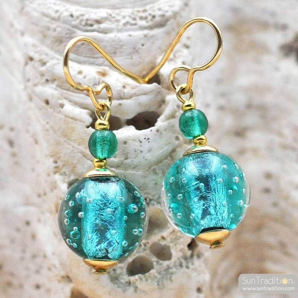 FIZZY TURQUOISE BLUE EARRINGS GENUINE VENICE MURANO GLASS