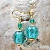 TURQUOISE BLUE EARRINGS GENUINE VENICE MURANO GLASS