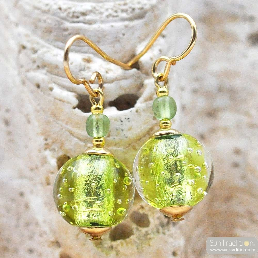 FIZZY ANIS GREEN EARRINGS GENUINE VENICE MURANO GLASS