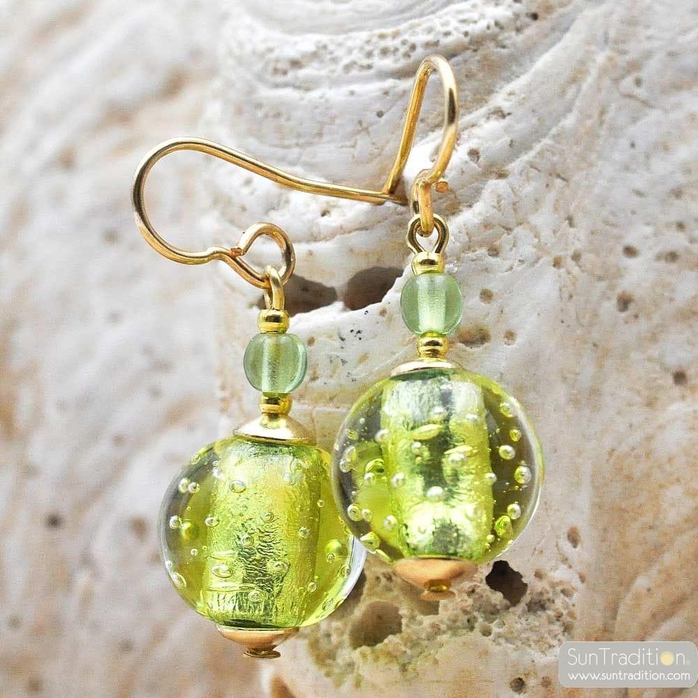 ANIS GREEN EARRINGS GENUINE VENICE MURANO GLASS