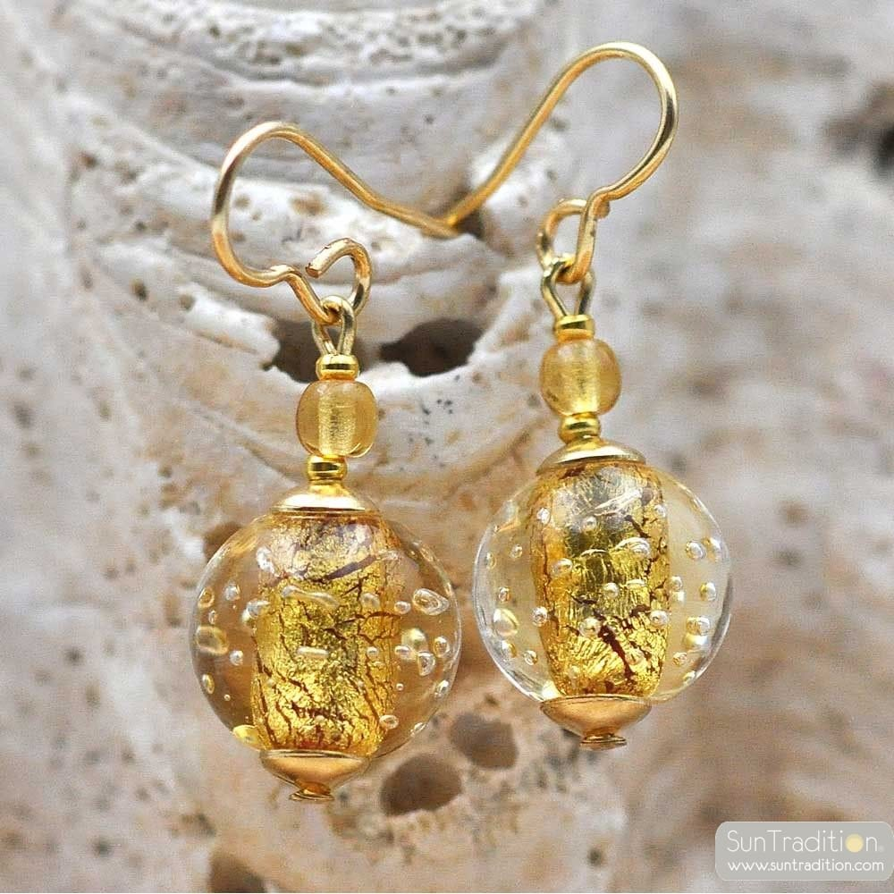 FIZZY GOLD - GOLD MURANO GLASS EARRINGS GENUINE VENICE GLASS