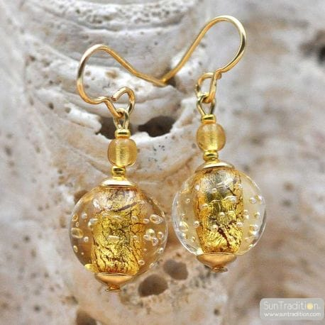 FIZZY GOLD EARRINGS GENUINE VENICE MURANO GLASS