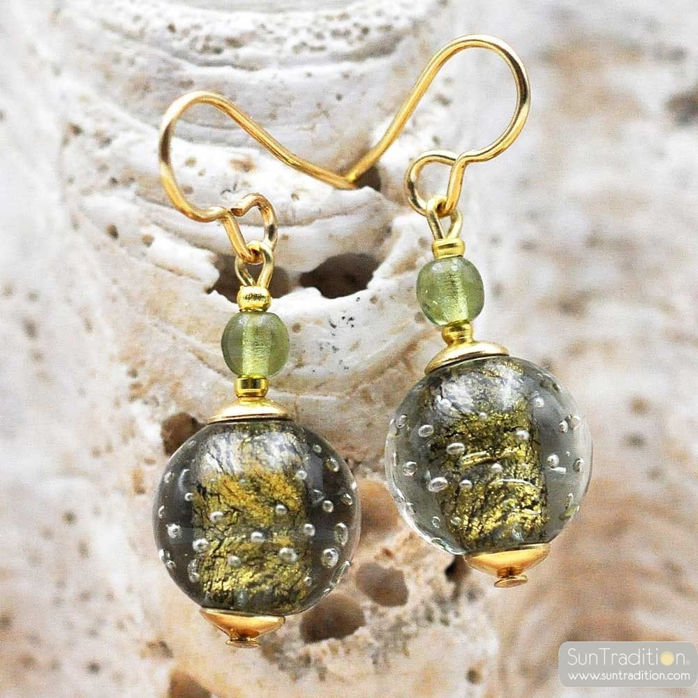 FIZZY GREEN GREY EARRINGS GENUINE VENICE MURANO GLASS