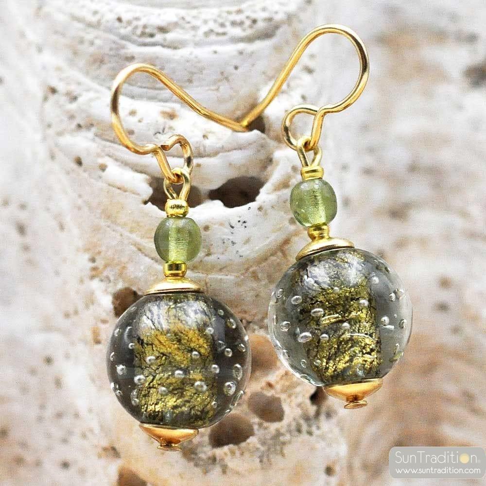 FIZZY GREEN GREY - GREEN GREY MURANO GLASS EARRINGS