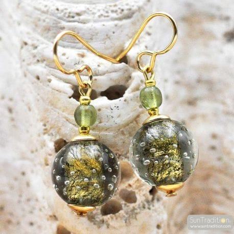 FIZZY GREEN GREY EARRINGS GENUINE VENICE MURANO GLASS
