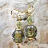 GREEN GREY EARRINGS GENUINE VENICE MURANO GLASS