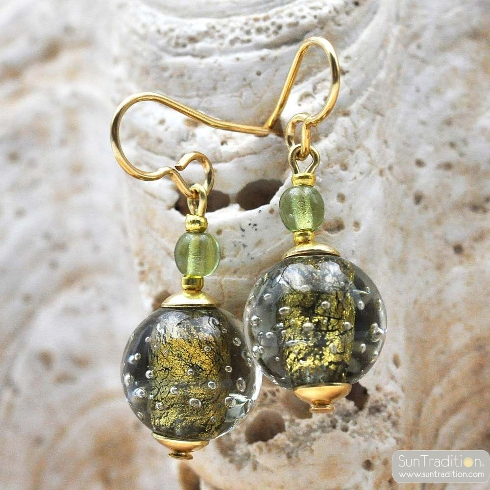 GREEN GREY EARRINGS GENUINE VENICE MURANO GLASS