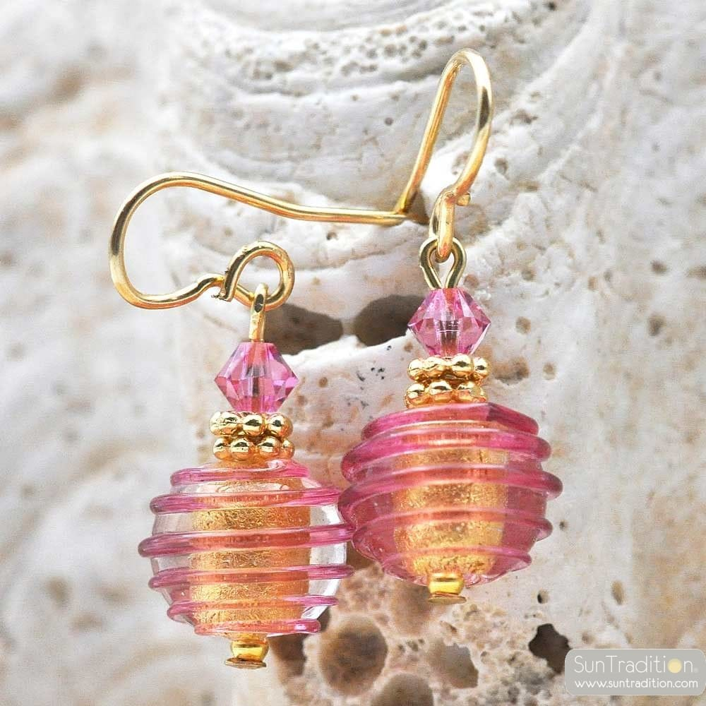 JOJO PINK AND GOLD MINI - PINK AND GOLD MURANO GLASS EARRINGS GENUINE VENICE GLASS
