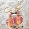 MINI JO-JO PINK AND GOLD EARRINGS GENUINE MURANO GLASS VENICE
