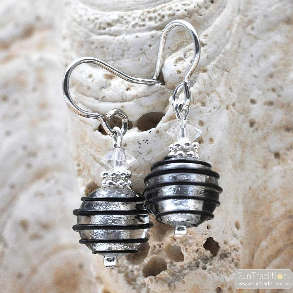JO-JO BLACK AND SILVER MINI EARRINGS GENUINE MURANO GLASS VENICE