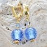 FIZZY BLUE LEVER BACK EARRINGS HOOK GENUINE VENICE MURANO GLASS