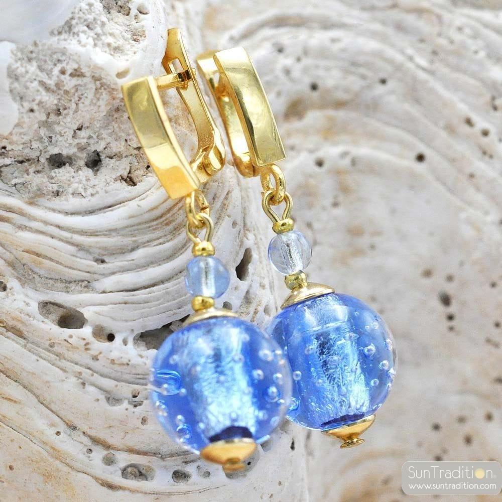 FIZZY BLUE LEVER BACK EARRINGS HOOK GENUINE VENICE MURANO GLASS