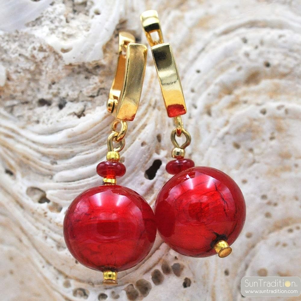 RED BALL LEVER BACK EARRINGS HOOK GENUINE VENICE MURANO GLASS