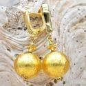 BALL GOLD - LEVER BACK EARRINGS GENUINE VENICE MURANO GLASS