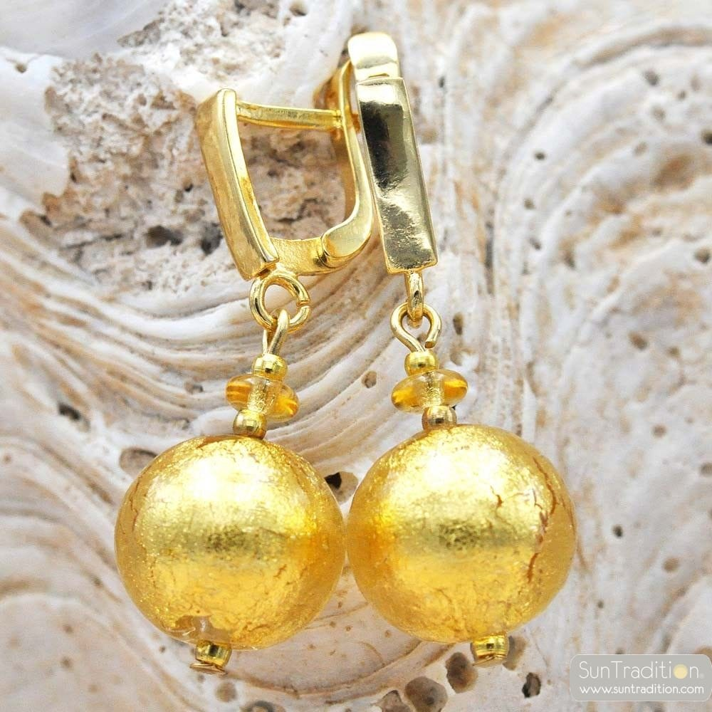 BALL GOLD LEVER BACK EARRINGS GENUINE VENICE MURANO GLASS