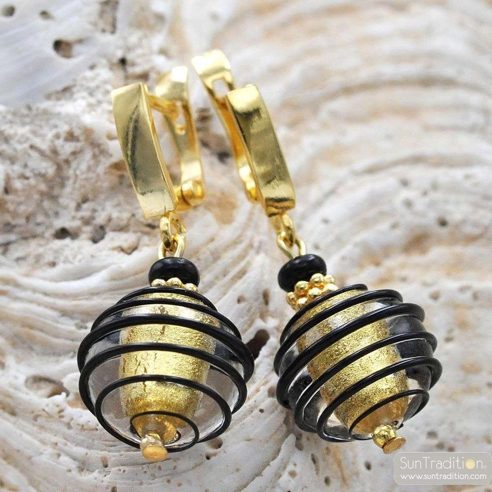 JO-JO BLACK AND GOLD LEVER BACK EARRINGS GENUINE MURANO GLASS VENICE
