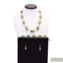 OLIVETTO BLACK AND GOLD SET GENUINE MURANO GLASS OF VENICE