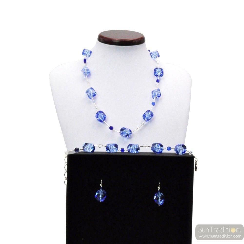 SASSO RIGADIN - BLUE SET IN REAL MURANO GLASS VENICE
