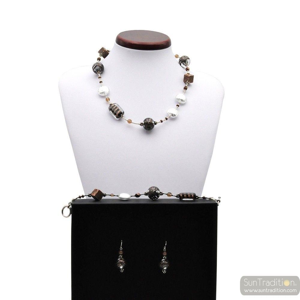 parure de bijoux en veritable verre de murano argent de venise. Black Bedroom Furniture Sets. Home Design Ideas