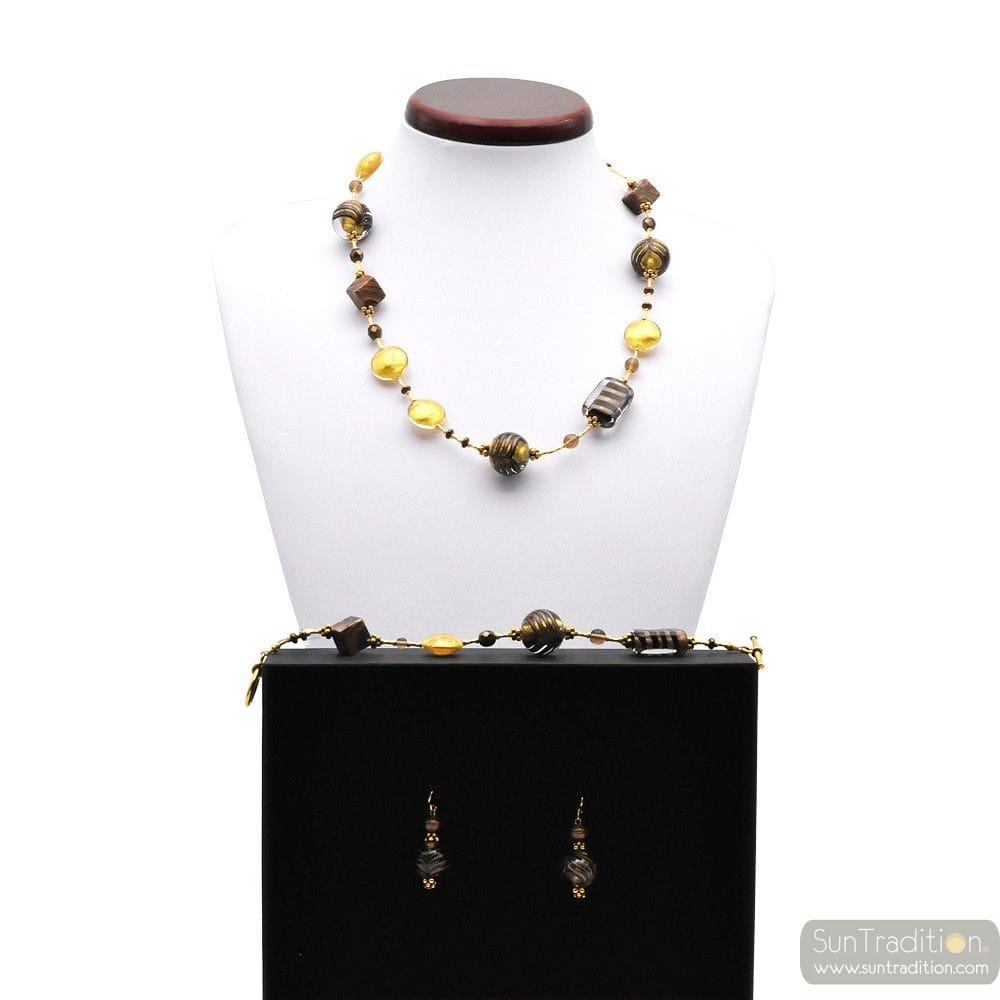 FENICIO GOLD - GOLD MURANO GLASS JEWELLERY SET IN REAL MURANO GLASS VENICE