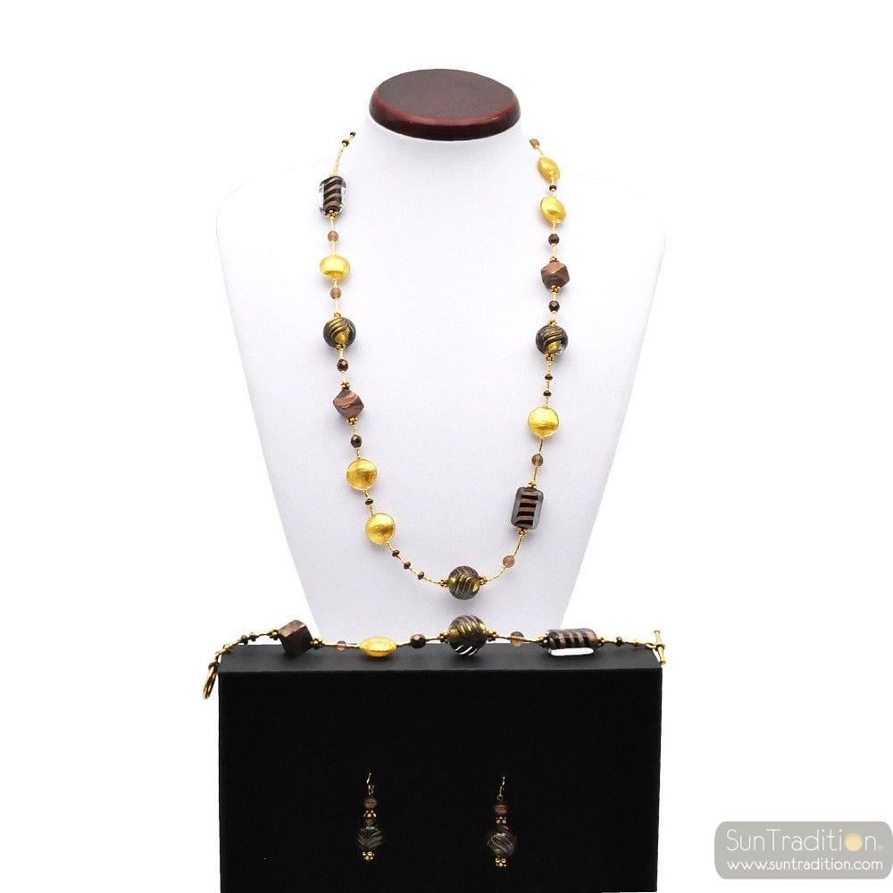 OUDE FENICISCHE HAVEN GOLD LANGE SIERADEN SET IN ORIGINELE MURANO GLAS UIT VENETIË