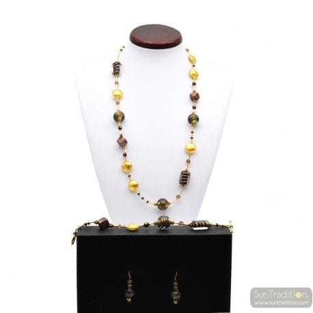 GOLD MURANO GLASS JEWELRY SET IN REAL GLASS MURANO VENICE