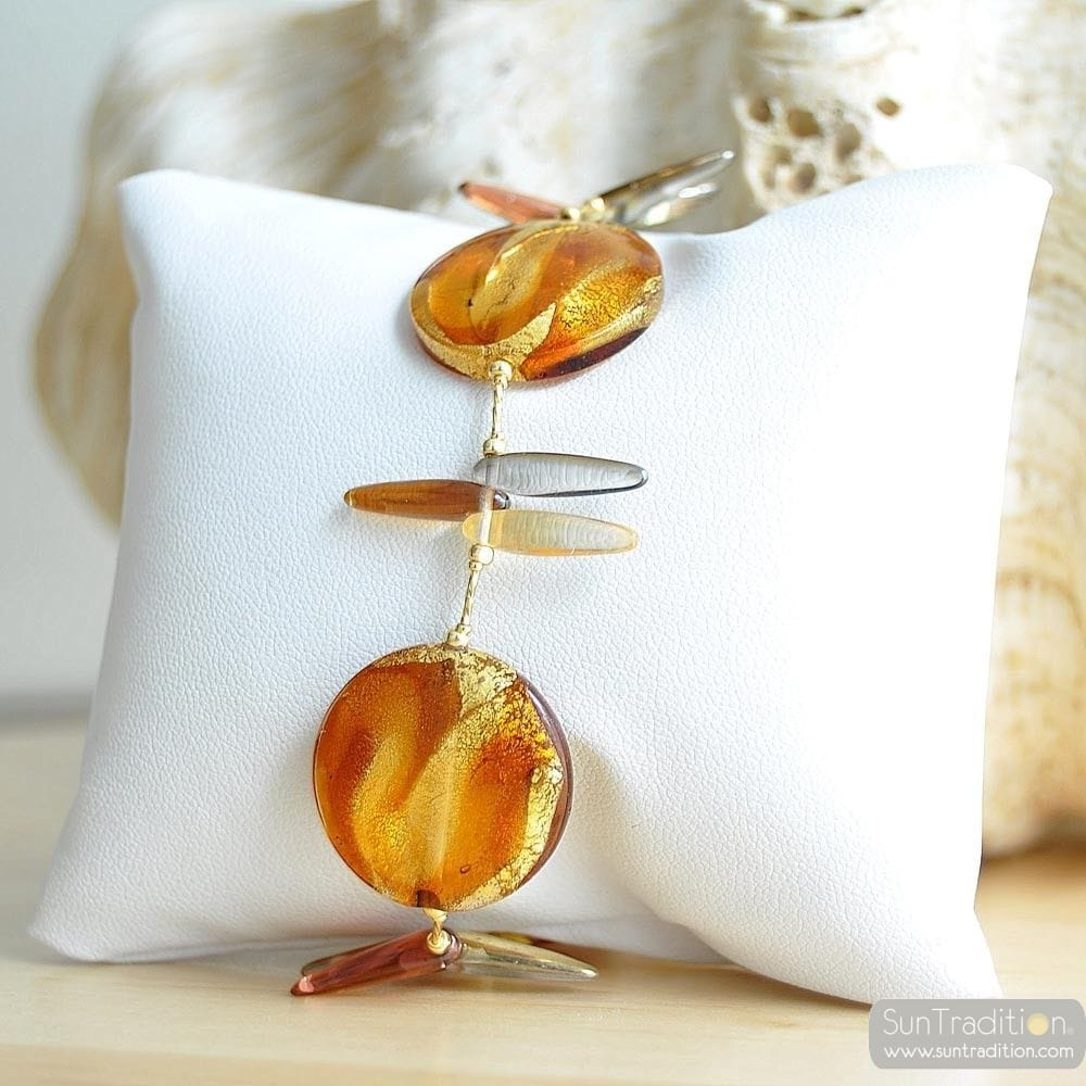 ALBATROSS AMBER BRACELET GENUINE MURANO GLASS