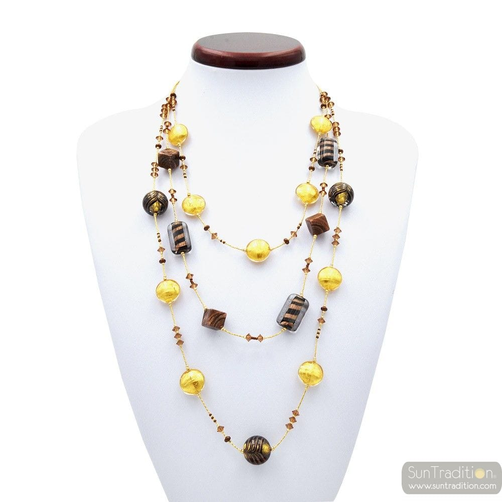 FENICIO CHIC OR LONG COLLIER BIJOU EN VERRE DE MURANO BARIOLE MARRON