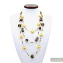 Fenicio Chic long gold - Long gold motley brown 3 rows Murano glass necklace venitian jewellry Italy