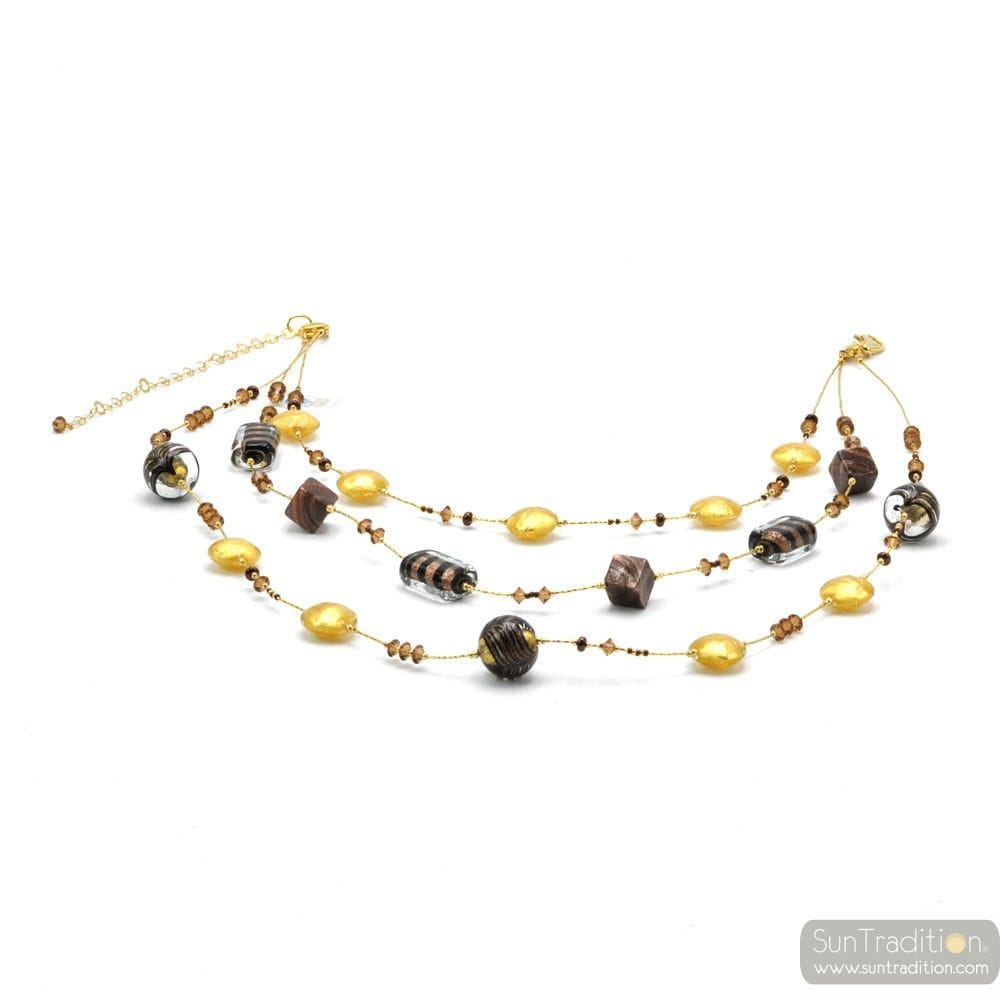 LONG NECKLACE IN GOLD LONG NECKLACE JEWELRY MURANO GLASS BARIOLE BROWN