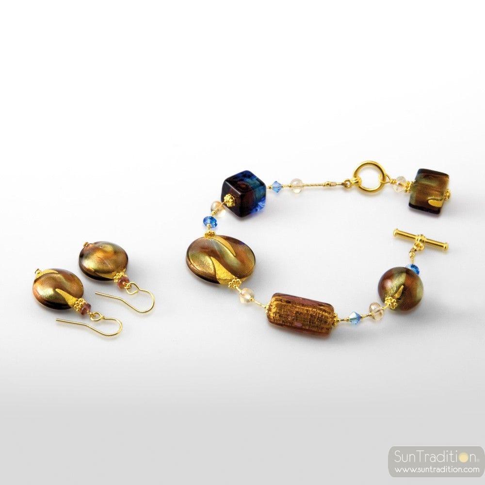 GOLD MURANO GLASS JEWELRY SET IN REAL MURANO GLASS VENICE