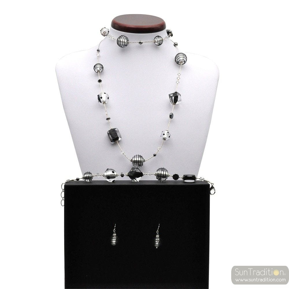 JOJO BLACK AND SILVER - SILVER MURANO GLASS JEWELLERY SET IN REAL VENITIAN GLASS