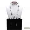 BLACK AND SILVER SET IN REAL VERRRE MURANO VENICE