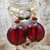 PASTIGLIA ACIDO PICCOLI - RED GLASS EARRINGS - GENUINE VENICE MURANO GLASS