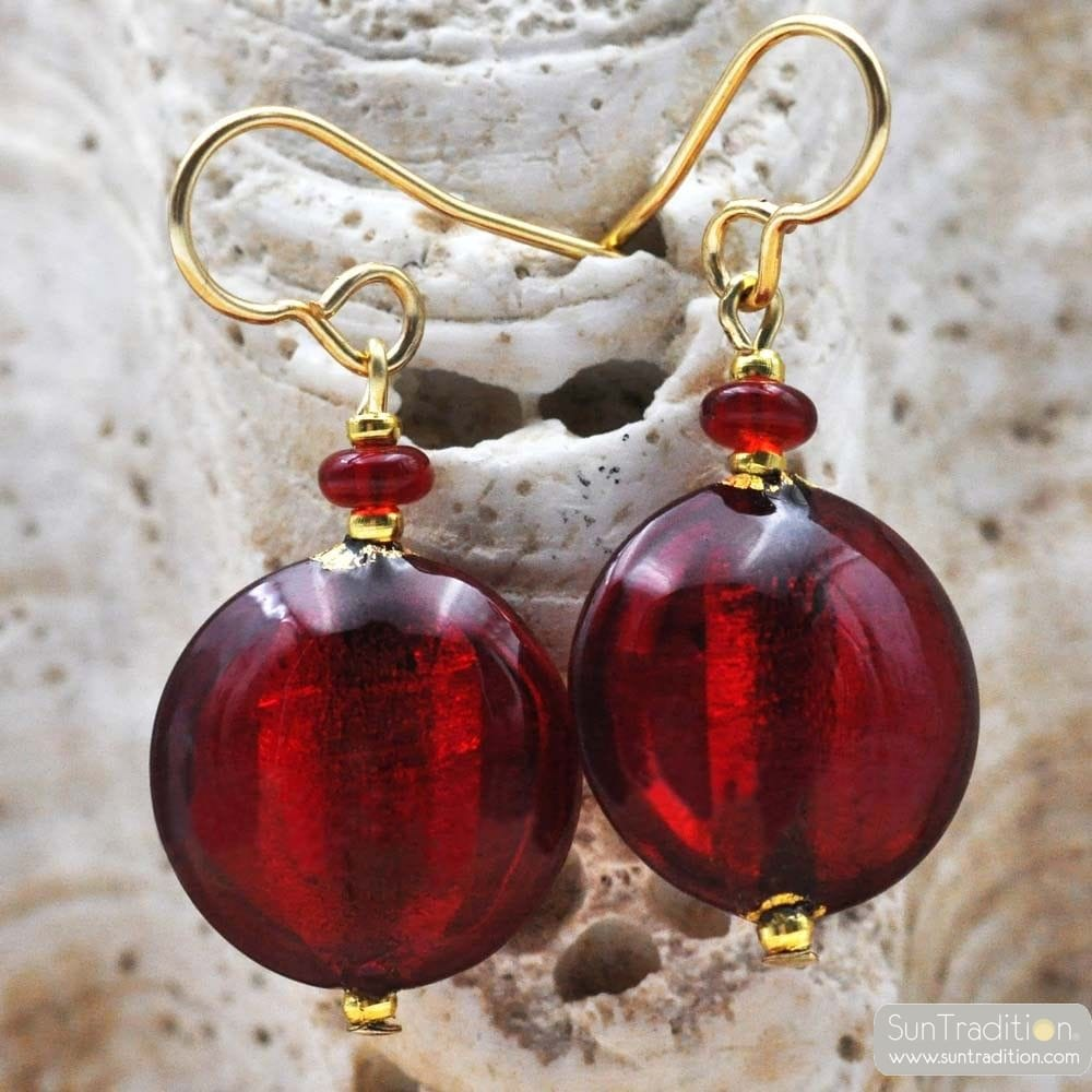 RED GLASS EARRINGS - GENUINE VENICE MURANO GLASS
