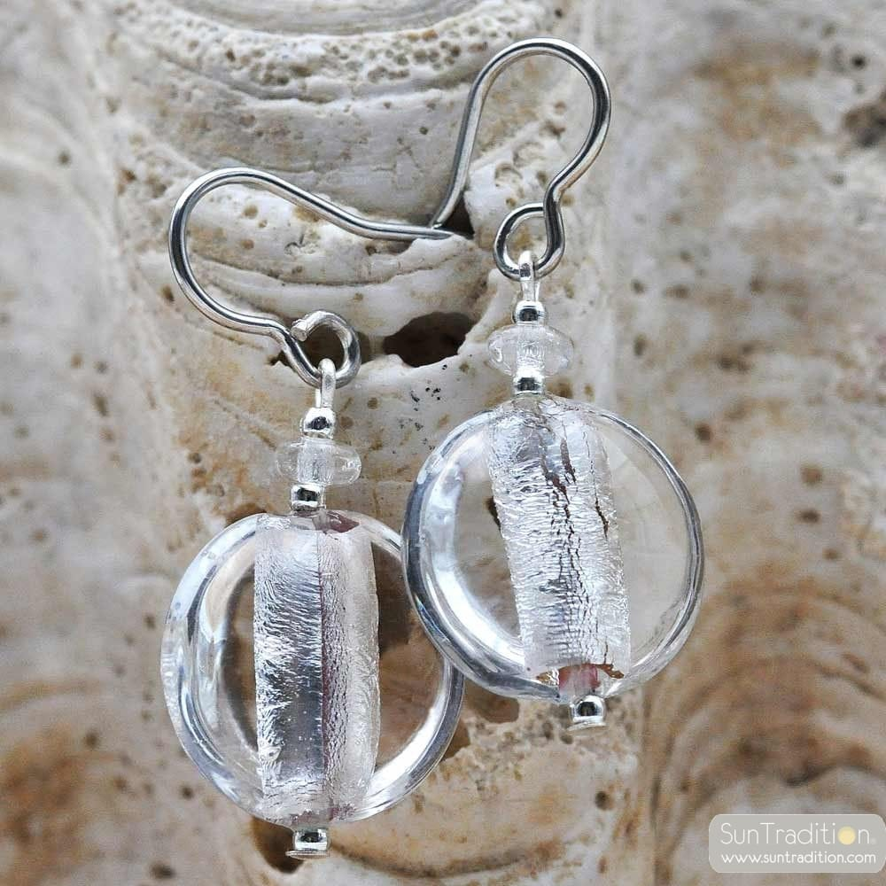PASTIGLIA ACIDO PICCOLI TRANSPARENT SILVER - GLOSSY GLASS EARRINGS GENUINE VENICE MURANO GLASS
