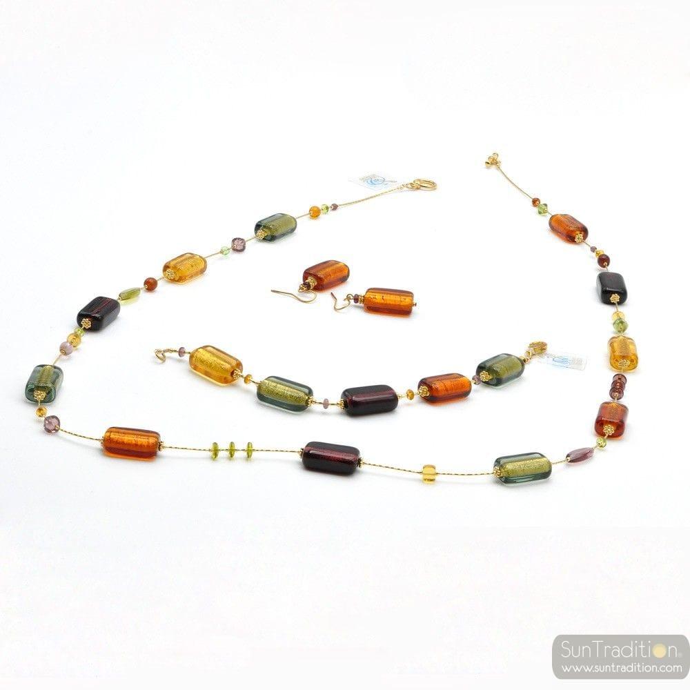 AMBER MURANO GLASS SET VENITIAN JEWELRY